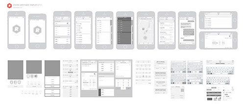 iPhone_Wireframing_Template UI设计 PSD素材