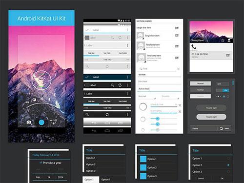 android_kitkat_ui_kit UI设计 PSD素材