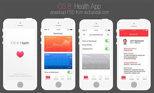 techandall_ios8_health UI设计 PSD素材