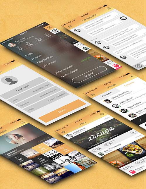 Flat-Mobile-App UI设计 PSD素材