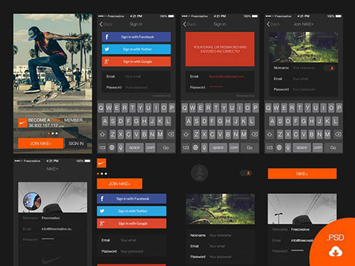 uikitlogin-iphone UI设计 PSD素材