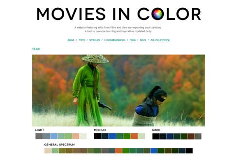 从电影剧照上获取配色 – Movies in color