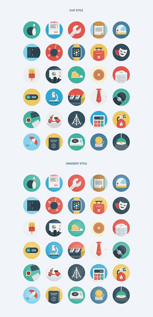 适合Web、智能手表APP设计的多彩圆形风格图标素材