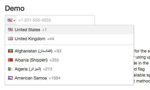 国际电话号码输入jQuery插件