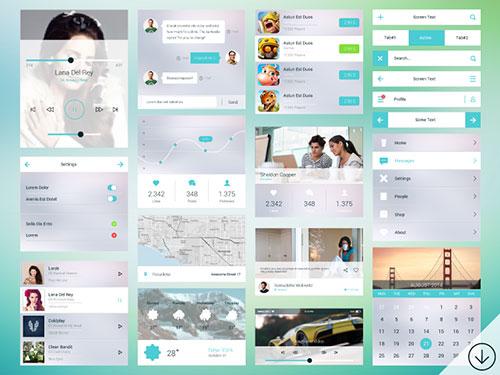 31个扁平化设计的UI KIT下载 2014.11月版