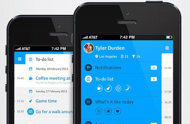 blue clean iphone menu settings todo list
