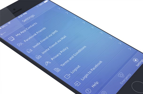 blue app screen ui settings menu design