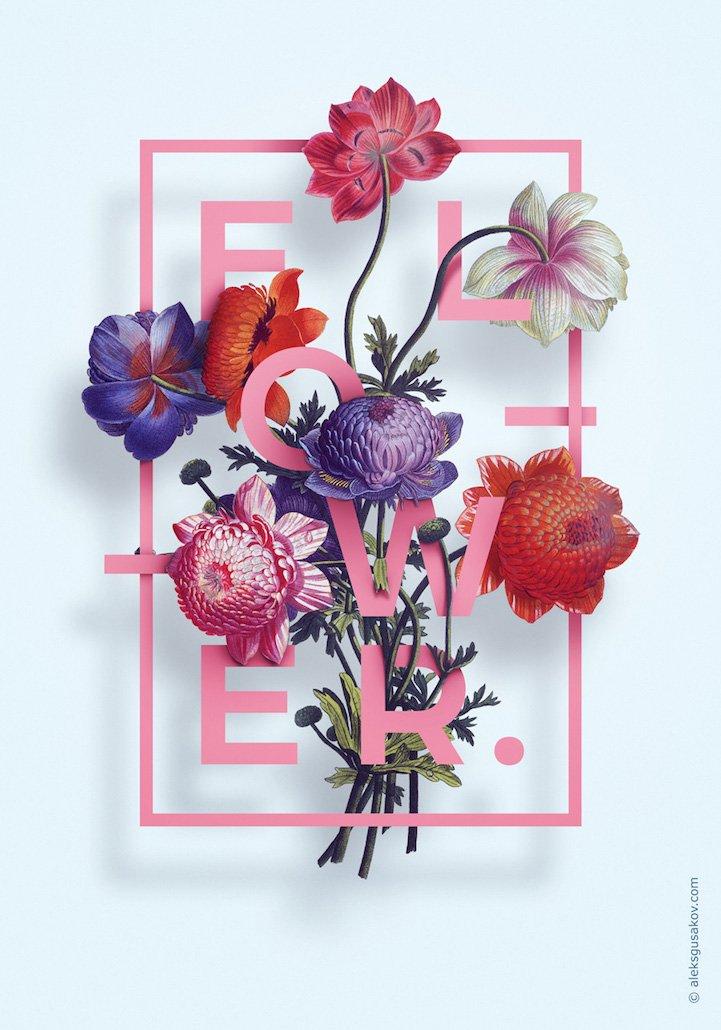 华丽的3D花卉插图 - 01