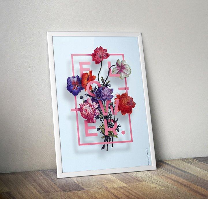 华丽的3D花卉插图 - 02