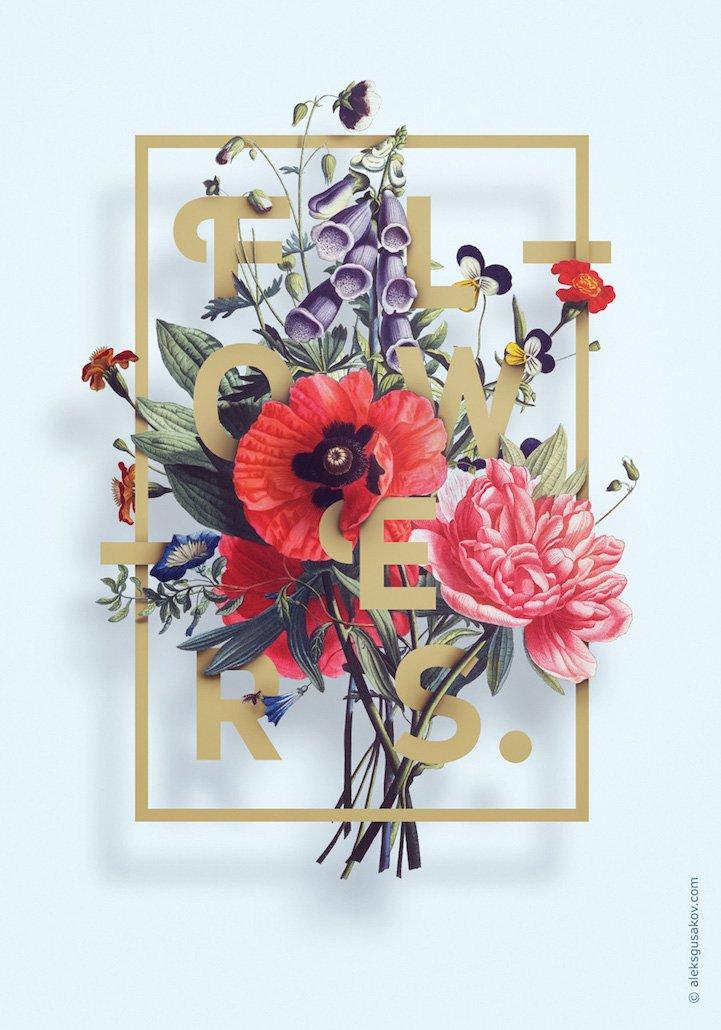 华丽的3D花卉插图 - 03