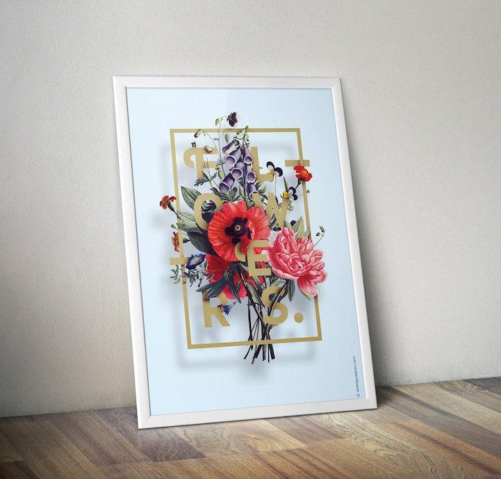 华丽的3D花卉插图 - 04