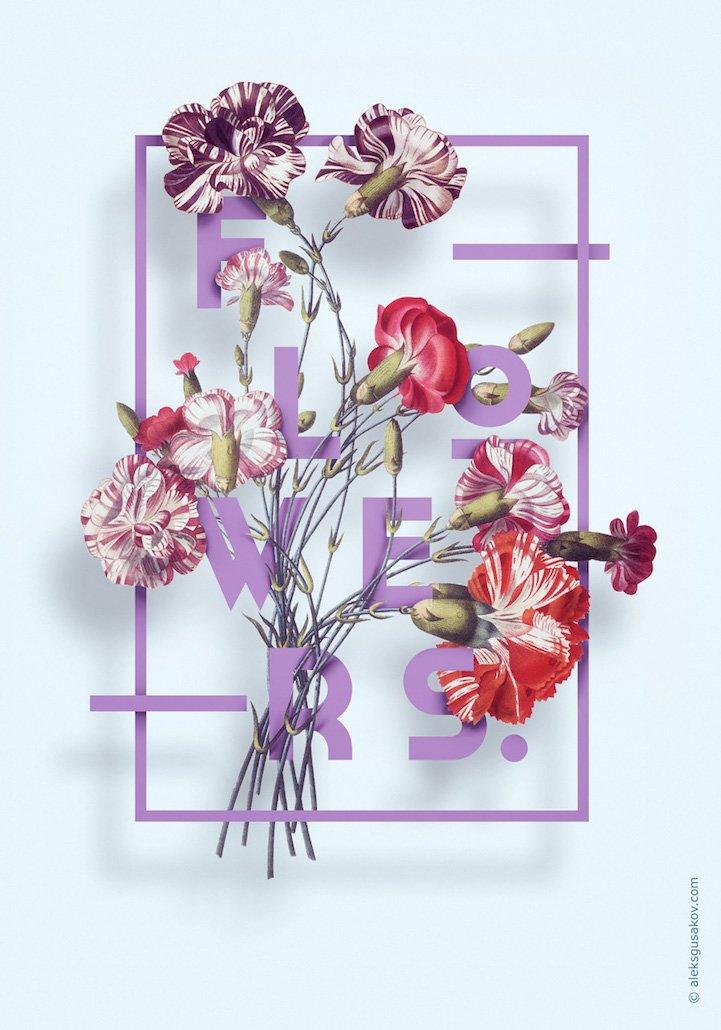 华丽的3D花卉插图 - 05