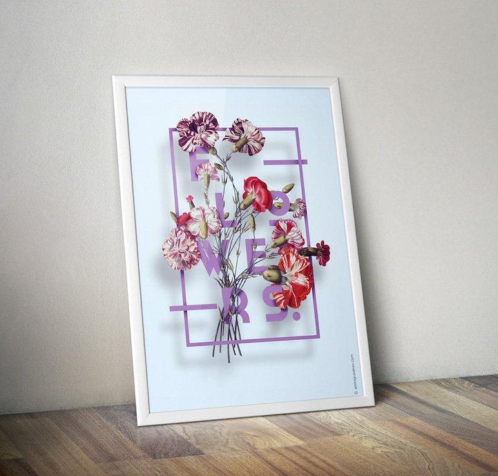 华丽的3D花卉插图 - 06