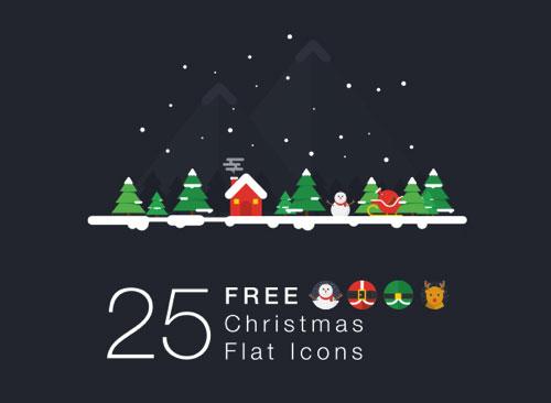 一套多彩的扁平化圣诞节图标素材下载