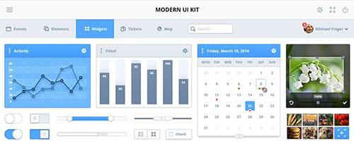 Modern Simple and Elegant UI Kit PSD