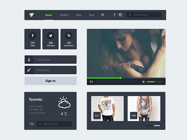 Freebie PSD - Flat UI Kit