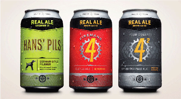 Real Ale Hans' Pils, Firemans 4 & Four Squared Cans by The Butler Bros