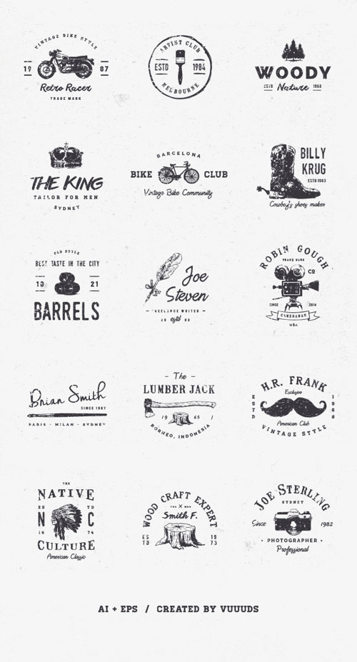 9 free collections of elegant vector logo design templates mockplus 15 vintage logos download for free pronofoot35fo Choice Image