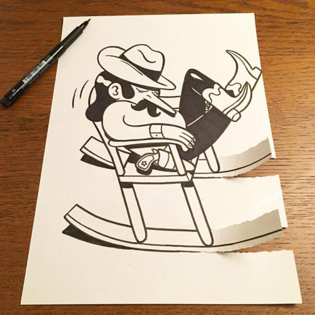有创意的撕纸画_一支笔、一张纸,撕出了一片幽默! | 设计达人