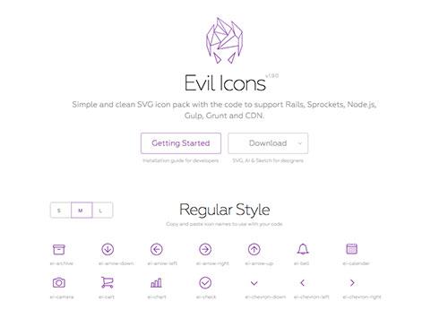 简约线性图标 Evil Icons 开源,含SVG、AI、SKETCH 源文件及CND