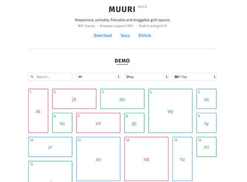 MUURI – 响应式、可排序、可拖拽的布局插件