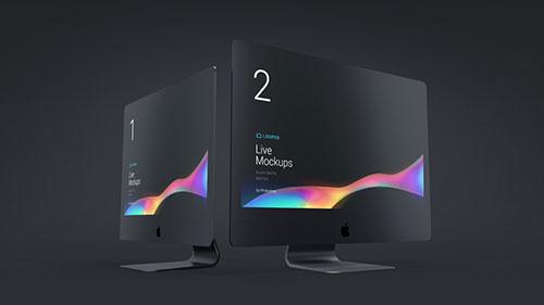 超酷黑&白 Apple 系列设备展示模型 Mockup