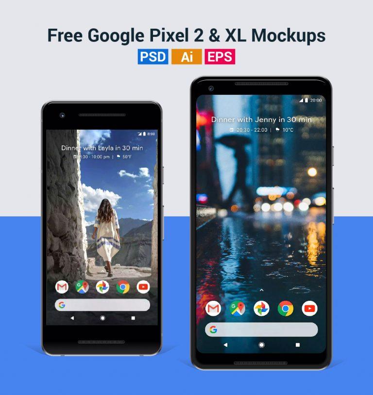 免费谷歌Pixel 2 & XL样机(PSD/AI格式)