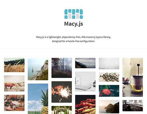 Macy.js 网页流布局JS插件,仅4KB大小