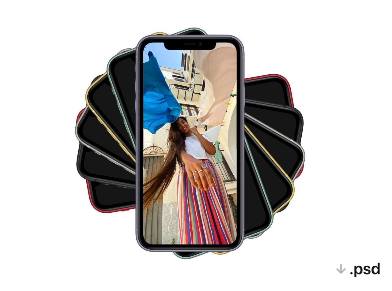 iPhone11樣機PSD格式素材 六種顏色