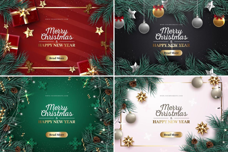 气氛满满的圣诞节海报素材 元素可单独取出使用