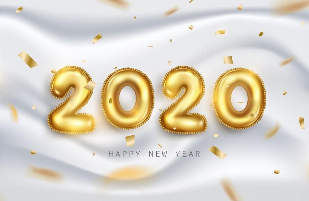 金色2020年字體元素