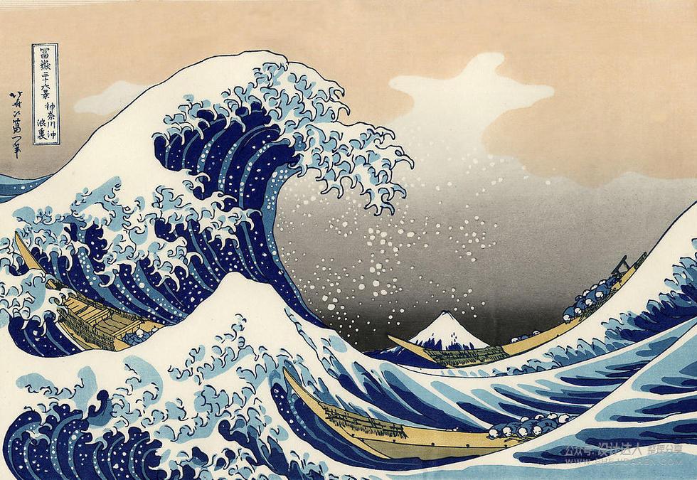 日本葛饰北斋大师,经典浮世绘画作《冨岳三十六景》