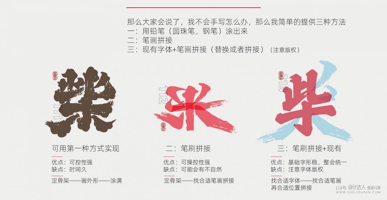 手写风格文字设计方法(附文字笔画)