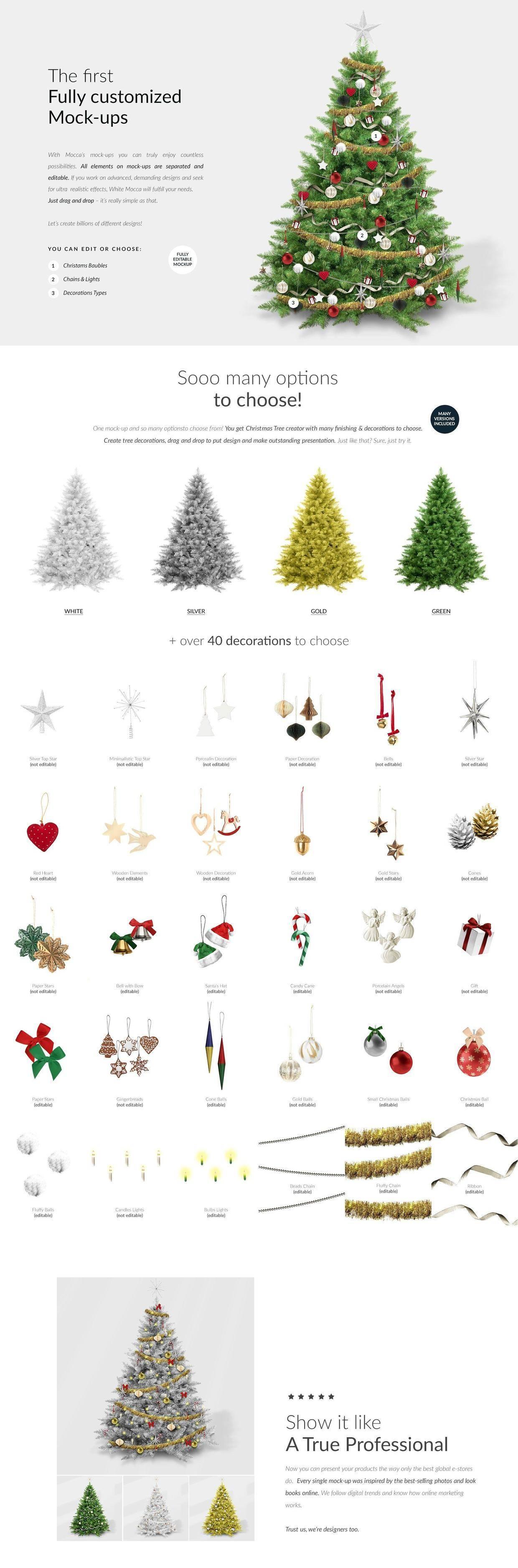 圣诞树DIY素材,多款圣诞树和挂件随意定制哦~