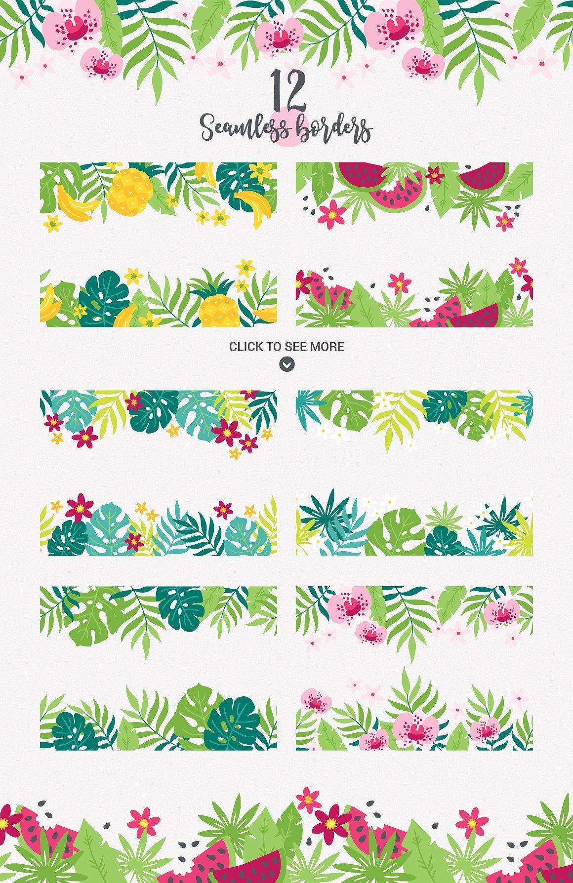 真好看!清爽彩色手绘花卉元素