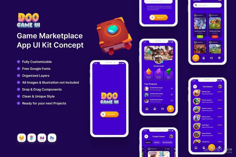 游戏APP设计模板,蓝橙双色系