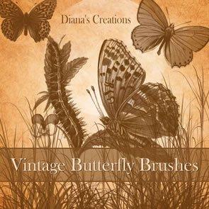 Vintage Butterflies 13 Brushes