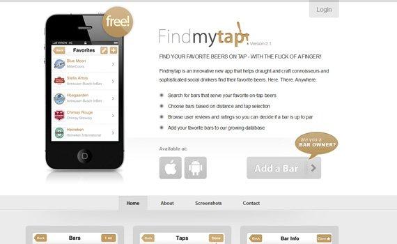 Findmytap-iphone-app-web-design-inspiration