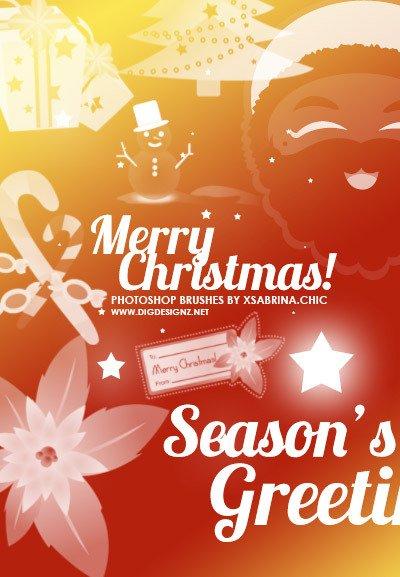 20个圣诞节photoshop笔刷素材