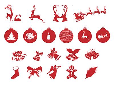 可爱圣诞节ICON图标素材包-PSD轮廓图
