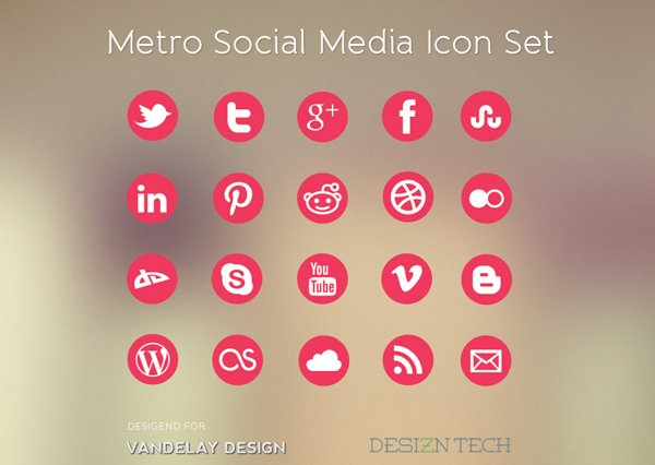 metro 风格的社会化媒体图标 - 设计达人
