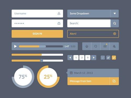 扁平化图标与UI KIT设计素材-30